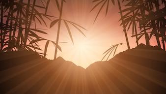 Bamboo against sunset sky