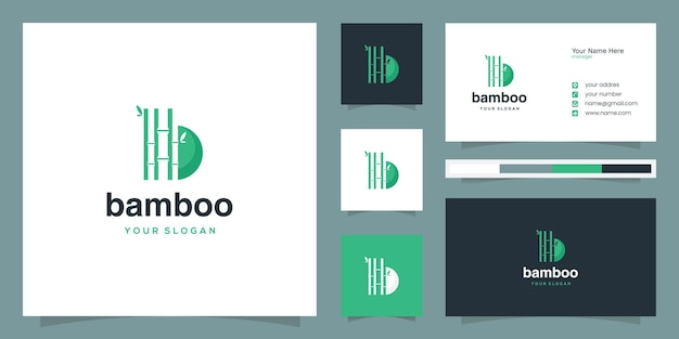 Bamboo b letter logo and business card design template