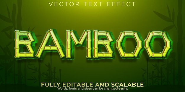 Bamboo branch text effect, editable asia and forest text style