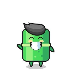 波の手のジェスチャーを行う竹の漫画のキャラクター、tシャツ、ステッカー、ロゴ要素のかわいいスタイルのデザイン