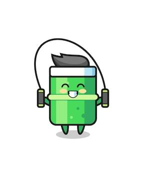 縄跳びと竹のキャラクター漫画、tシャツ、ステッカー、ロゴ要素のかわいいスタイルのデザイン