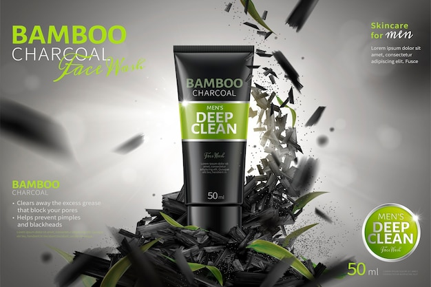 Рекламы для умывания с бамбуковым углем, в воздухе летят измельченные угли