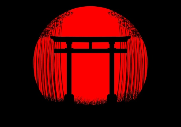 日本の日の出の竹の森の背景