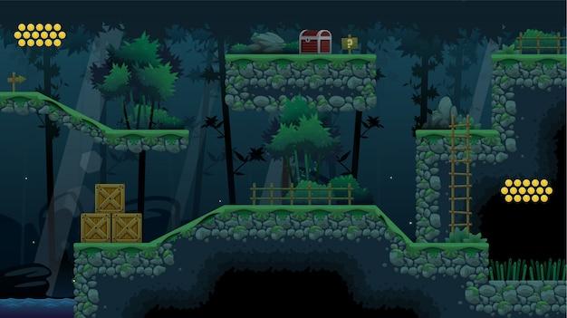 대나무 숲 플랫 포머 게임 타일셋