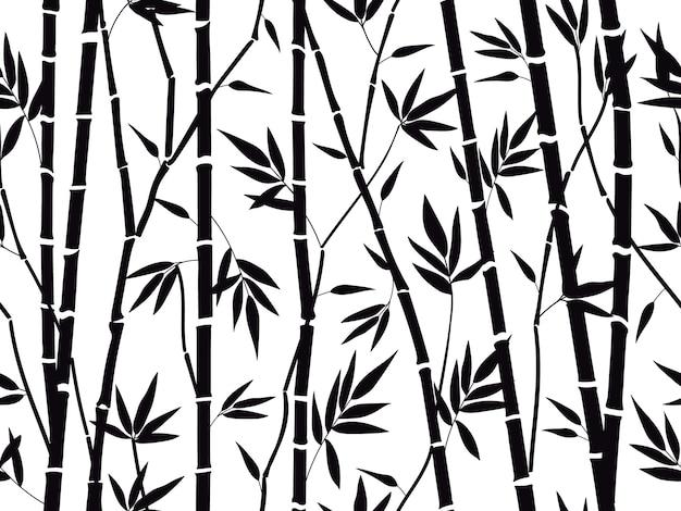 Бамбуковый лес силуэт, изолированные на белом фоне