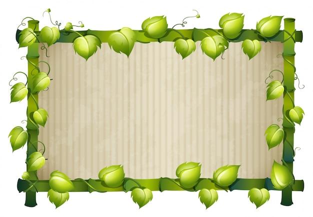 녹색 잎을 가진 대나무 프레임