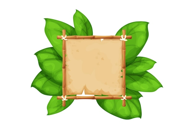 Bamboo frame with parchment in cartoon style decorated exotic palm leaves