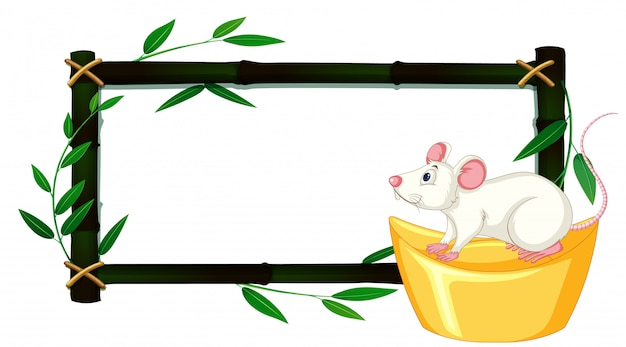 Bamboo frame with white rat on gold
