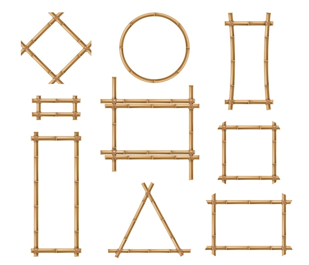 竹フレーム木製の茶色の竹の棒の正方形と丸いボーダーフレーム