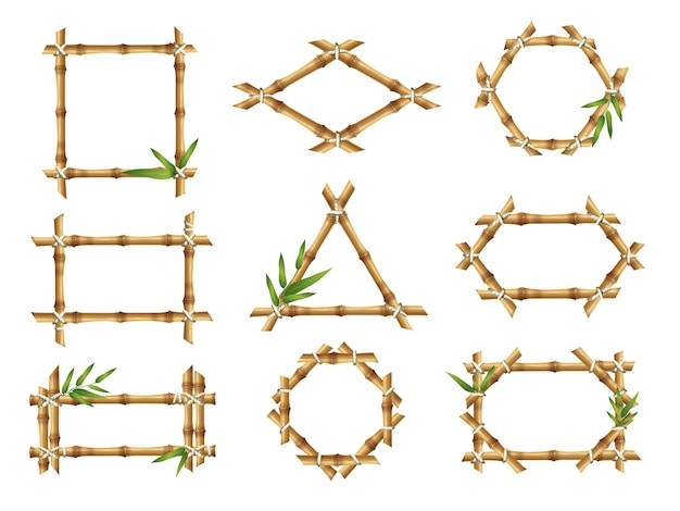 Bamboo frames. geometric forms of nature bamboo rustic plants tropical objects japanese authentic  frames. stick bamboo square, decoration various frame illustration