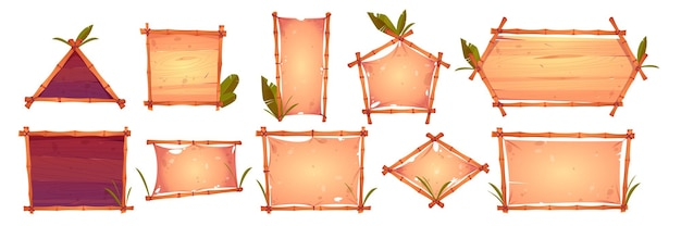 Bamboo frames with old parchment, wooden planks background and palm leaves.