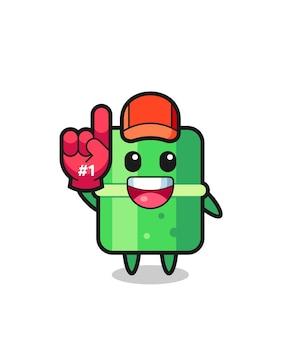 Бамбук иллюстрация мультфильм с перчаткой поклонников номер 1, милый стиль дизайна для футболки, наклейки, элемента логотипа