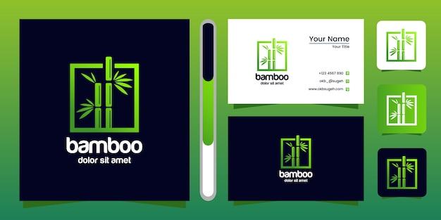 Бамбук дизайн логотипа и визитная карточка