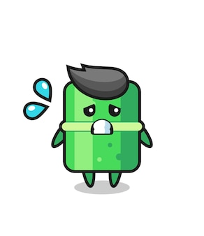 Bamboo mascot character with afraid gesture , cute style design for t shirt, sticker, logo element