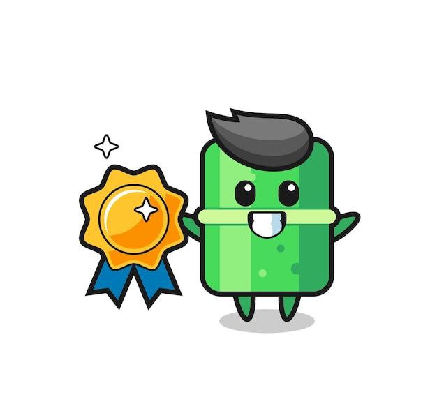 Bamboo mascot illustration holding a golden badge , cute style design for t shirt, sticker, logo element