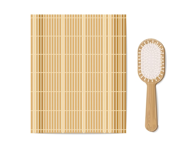 Bamboo mat and brush realistic