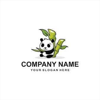 Bamboo panda logo vector