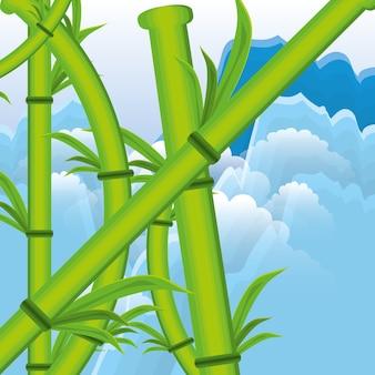 대나무 식물 자연 아이콘
