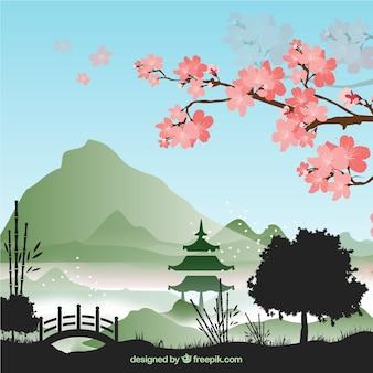 竹のツリーの背景ベクトルセット