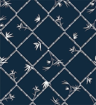 Bamboo tree and leaves modern style grid check  oriental mood seamless pattern .