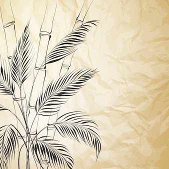Bamboo tree on old paper background