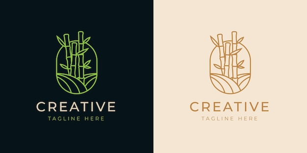 Bamboo trees line logo design template