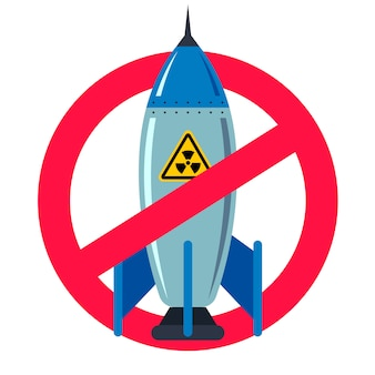 Ban nuclear weapons. forbidden red sign. peaceful life. iron bomb. vector flat illustration