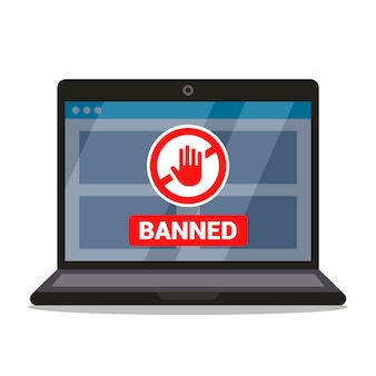 Ban sign on laptop monitor screen. flat  illustration.