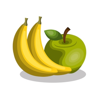 Banana and apple fresh vector illustration design