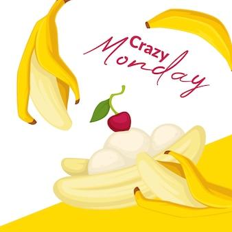 Бананово-вишневый микс, сладкий десерт с шариком мороженого. экзотические блюда в джелатерии, блюда из органических натуральных продуктов. рекламный баннер или плакат, скидки в кафе или ресторане. вектор в квартире