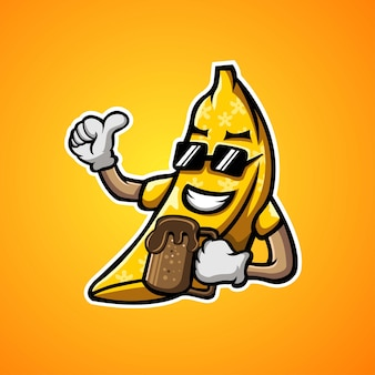 バナナとチョコレートのマスコットイラスト