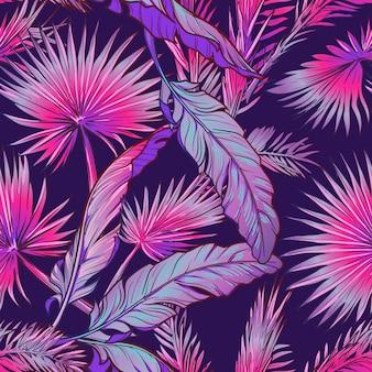 Банановые и пальмовые листья на темно-фиолетовом фоне