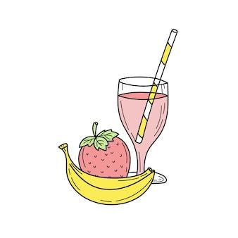バナナとストロベリーのスムージーまたはレモネードのグラス。新鮮な夏の飲み物