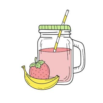 ガラスの瓶にバナナとイチゴのスムージーまたはレモネード。新鮮な夏の飲み物
