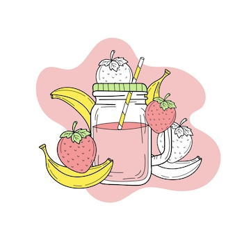 ガラスの瓶にバナナとイチゴのスムージーまたはレモネード新鮮な夏の飲み物