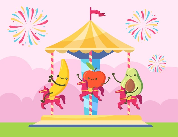 Personaggi di banana, mela e avocado a cavallo di un chairoplane. frutti felici che si divertono sull'illustrazione della festa