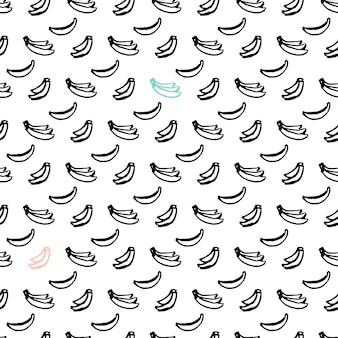 バナナブラシシームレスパターン。手描きのペイントフルーツの背景のベクトルイラスト。