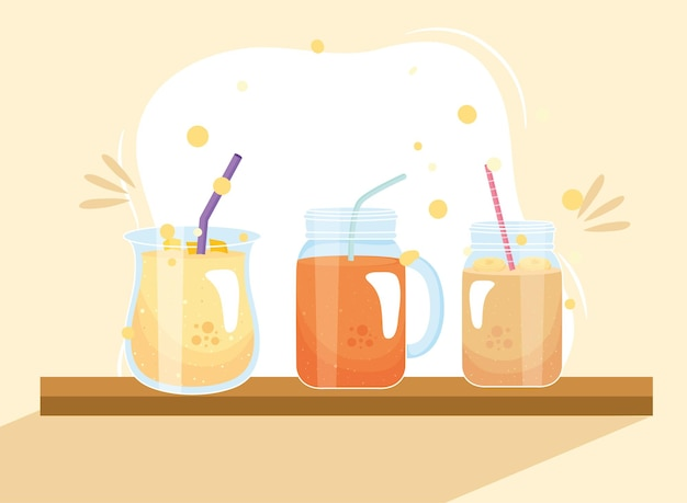 Banana and carrot smoothies drink glasses