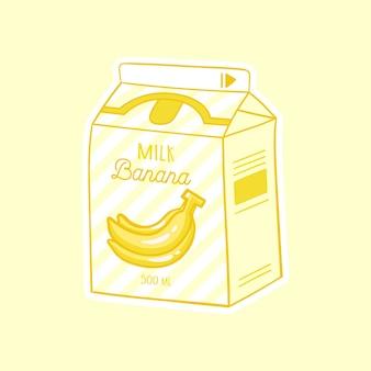 Banana cartoon milk asian product hand drawn colored trendy vector illustration kawaii anime