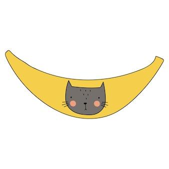 바나나 고양이 벡터 일러스트 포스터 t 셔츠 엽서에 좋습니다