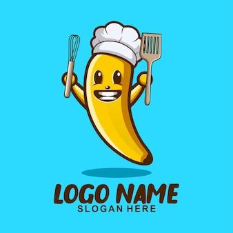 바나나 요리사 귀여운 마스코트 캐릭터 로고 디자인