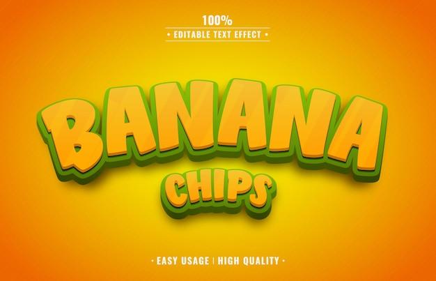 Редактируемый текстовый эффект банановых чипсов Premium векторы
