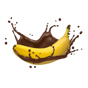 Banana and chocolate splash, 3d vector icon