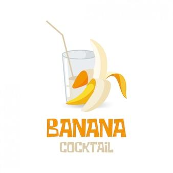 Банановый коктейль, натуральный напиток. завтрак