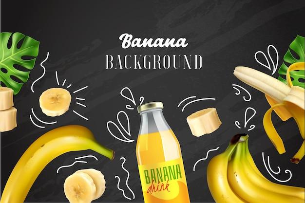 Illustrazione colorata banana con frutta tritata e bottiglia con succo sulla lavagna