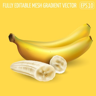 Banana composition with whole bananas and peeled slices. realistic illustration.