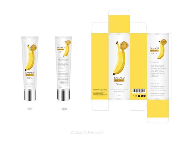 Банановая косметическая упаковка включает коробку и бутылку