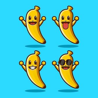 바나나 귀여운 마스코트 캐릭터 로고 디자인