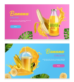 Banana drink horizontal banners with realistic fresh fruits splashes and juice in bottle