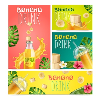 Banana drink realistic banners set of fruit slices bottle and glasses with juice Free Vector